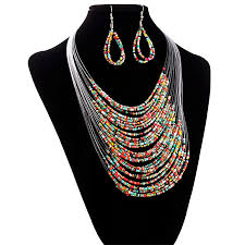 multi layer beaded necklace images Buy eissely jewelry multicolor multi layer resin beads necklaces jpg
