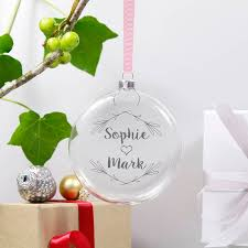 personalised mistletoe christmas bauble for couples by olivia
