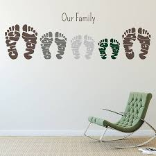 personalised footprint wall art stickers by name art personalised footprint wall art stickers