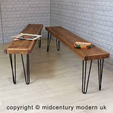 hairpin legs vintage industrial reclaimed timber mid century bench