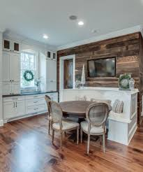 splashy banquette bench in kitchen traditional with barn wood wall
