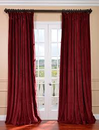 Thick Black Curtains Signature Burgundy Wide Velvet Blackout Pole Pocket Curtain