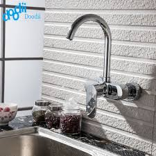 Wall Mount Kitchen Faucet Single Handle Doodii High Quality Wall Mounted Double Holes Kitchen Faucet