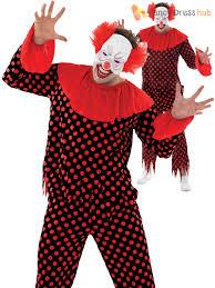 mens evil scary clown costume wig halloween fancy dress zombie