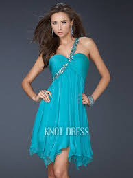 elegant a line turquoise one shoulder with beading and sequin