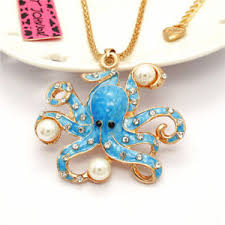 crystal necklace ebay images Ocean blue enamel pearl octopus crystal pendant betsey johnson jpg