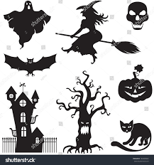 Cat Silhouette Halloween Set Silhouette Horror Images Halloween Stock Vector 142539622