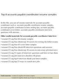 Sample Resume For Accounts Payable Specialist by Top 8 Accounts Payable Coordinator Resume Samples 1 638 Jpg Cb U003d1431955264