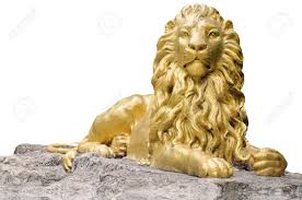 gold lion statue golden lion statue isolate on white background stock photo