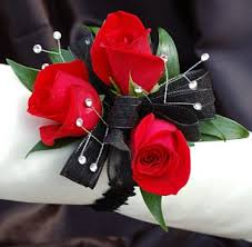 and black corsage sweetheart corsage black