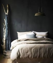 natural washed linen duvet and dark wall perfect swoon dream