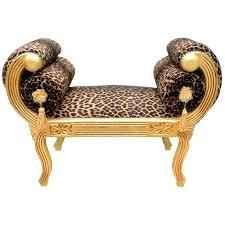 Leopard Print Chaise Grand Baroque Style Chair Leopard Fabric And Gilded Wood