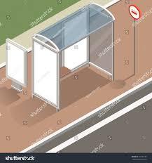 isometric bus stop street mockup stock illustration