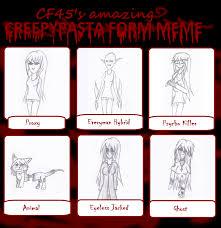 Creepypasta Memes - chenana s creepypasta forms meme by arianatheechidna on deviantart