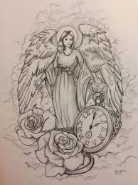 pocket watch with roses and angel tattoo design