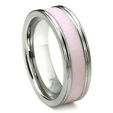 pink wedding rings tungsten carbide pink ceramic inlay wedding band ring w