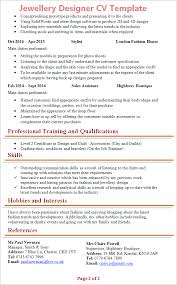 Hobbies And Interests On A Resume Examples by Jewellery Designer Cv Template Tips And Download Cv Plaza
