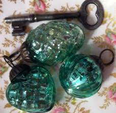3 vintage blue green mercury glass mini ornaments pinecone