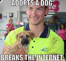 Hot Guy Meme - the internet is freaking out over this hot guy adopting a puppy photo