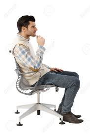 Office Chair Vector Side View Side View Of Businessman Sitting In Swivel Chair Thinking Stock