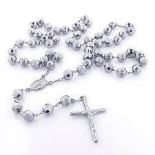 white gold bead necklace images 14k solid white gold rosary beads necklace 7mm 30in jpg