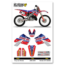 honda motocross gear 2000 2001 tld honda cr 125 250 dirt bike graphics kit motocross