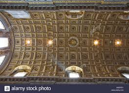 coffered ceiling of the nave st peter s church rome italy