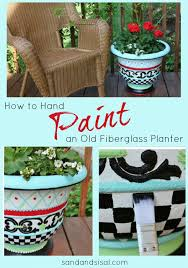 whimsical hand painted planter sand and sisal