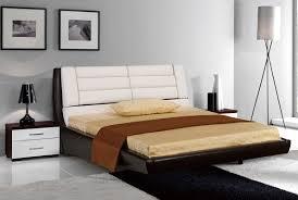 bedroom king size black leather platform bed cream modern striped