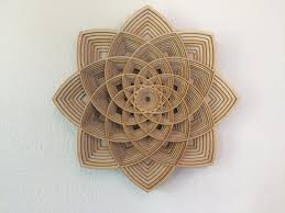wood wall layered geometric shape flower by artinlayers