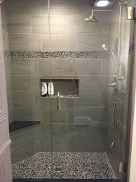 bathroom tiled showers ideas large charcoal black pebble tile border shower accent