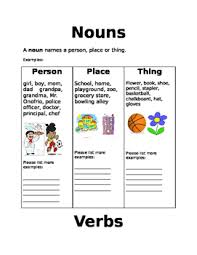 nouns verbs and adjectives worksheets free noun verb