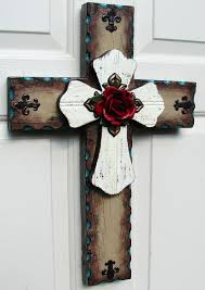 dc023b brown white stacked rustic cross with red rose rustic dc023b brown white stacked rustic cross with red rose