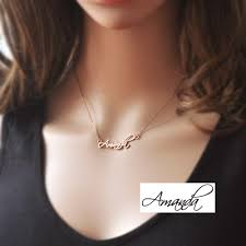 Gold Name Plated Necklace Personalized Name Necklace Signature Necklace Rose Gold Color