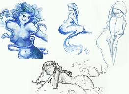 diana leto mermaid and water nymph sketches