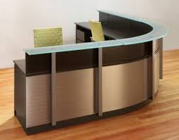 Semi Circular Reception Desk Elegant Design Reception Table With Glass Topsolid Wood Surface