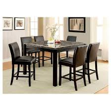 iohomes bailey ii marble top counter height dining table black
