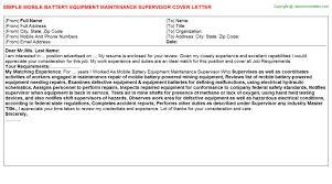 mobile battery equipment maintenance supervisor cover letter