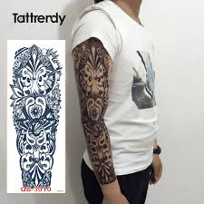 1pc full arm tattoo stickers large flower shoulder fake tattoos