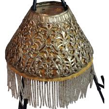 victorian pierced metal lamp shade with beaded fringe inserts from