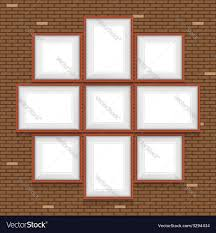 Picture Frame On Wall by Collage Of Picture Frames On The Brick Wall Set Vector Image