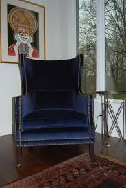 Blue Velvet Accent Chair Blue Velvet Wingback Chair Search Chairs