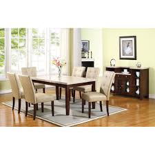 britney marble dining table in white marble u0026 walnut 17058 acme
