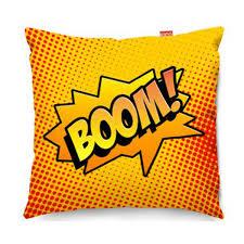 comic boom orange sofa cushion designer orange pop art pillow