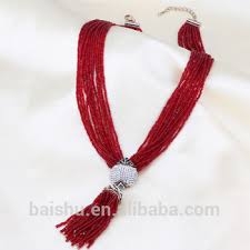 red crystal bead necklace images Women 39 s bohemia tassel pendants chokers necklace red crystal beads jpg