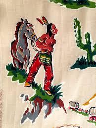 spectacular american wild west barkcloth 50s novelty fabric