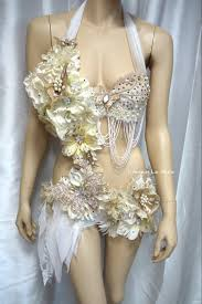 halloween gold gold and white goddess fairy monokini cosplay dance costume rave