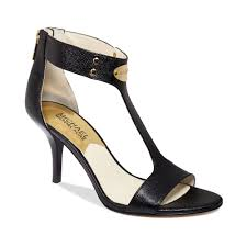 michael kors mk plate mid heel sandals in black lyst