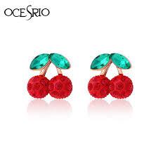 clip on earrings for kids ocesrio cherry earrings jewelry clip on earrings