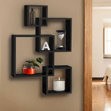 Home Decor Material by Bcp Intersecting Squares Floating Shelf Wall Mounted Home Decor